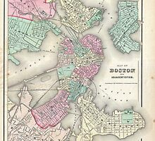 Vintage Map of Boston Harbor (1857) by BravuraMedia
