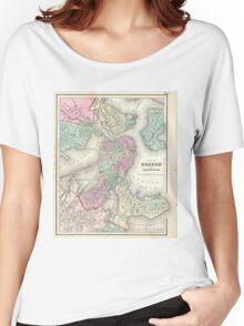 Vintage Map of Boston Harbor (1857) Women's Relaxed Fit T-Shirt
