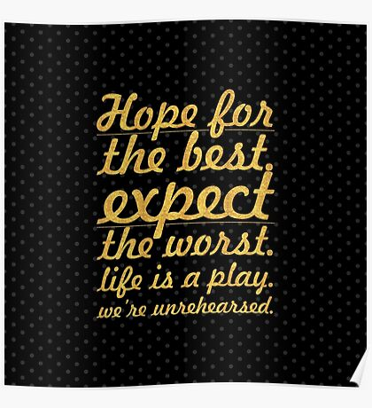 """Hope for the best...""""Mel Brooks"""" Life Inspirational Quote Poster"""