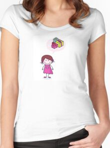 Happy christmas girl in red costume making angel in snow Women's Fitted Scoop T-Shirt