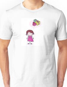 Happy christmas girl in red costume making angel in snow Unisex T-Shirt