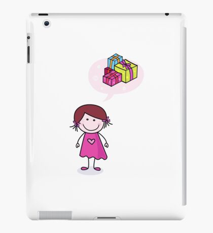 Happy christmas girl in red costume making angel in snow iPad Case/Skin