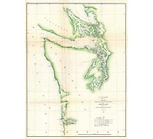 Vintage Map of Coastal Washington State (1857) Photographic Print