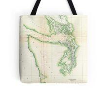 Vintage Map of Coastal Washington State (1857) Tote Bag