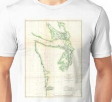 Vintage Map of Coastal Washington State (1857) Unisex T-Shirt