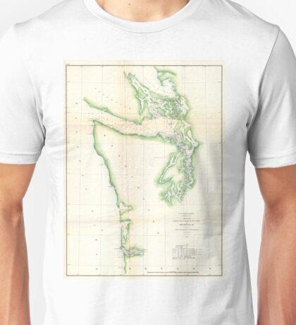 Vintage Map of Coastal Washington State (1857) Unisex T-Shirt