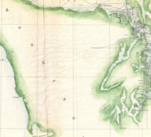 Vintage Map of Coastal Washington State (1857) Sticker