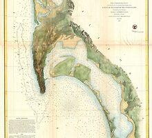 Vintage Map of The San Diego Bay (1857) by BravuraMedia