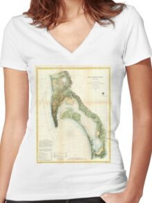 Vintage Map of The San Diego Bay (1857) Women's Fitted V-Neck T-Shirt