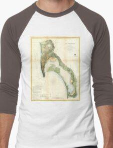 Vintage Map of The San Diego Bay (1857) Men's Baseball ¾ T-Shirt
