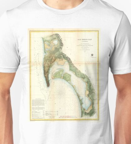 Vintage Map of The San Diego Bay (1857) Unisex T-Shirt