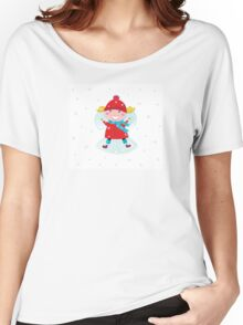 Happy christmas girl in red costume making angel in snow Women's Relaxed Fit T-Shirt