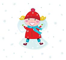 Happy christmas girl in red costume making angel in snow Photographic Print