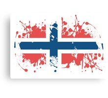 Norway Flag Spray Painting Canvas Print