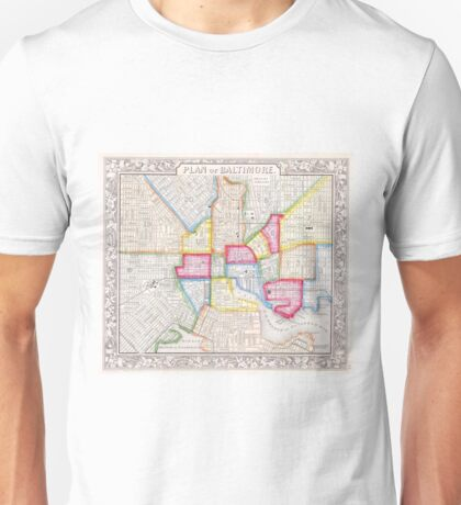 Vintage Map of Downtown Baltimore (1860) Unisex T-Shirt