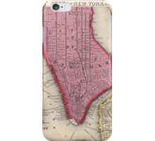 Vintage Map of Lower New York City (1860) iPhone Case/Skin