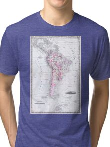 Vintage Map of South America (1861) Tri-blend T-Shirt