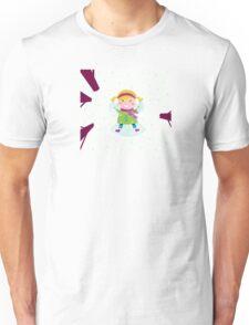 Happy christmas girl in winter nature making angel Unisex T-Shirt