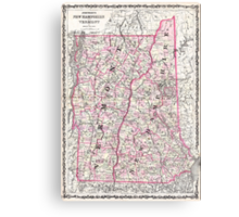 Vintage Map of New Hampshire and Vermont (1861) Canvas Print