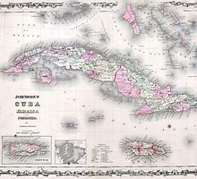 Vintage Map of Cuba (1861) by BravuraMedia
