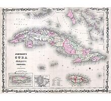 Vintage Map of Cuba (1861) Photographic Print
