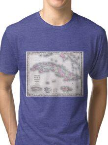 Vintage Map of Cuba (1861) Tri-blend T-Shirt