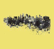 Kansas City skyline in black watercolor Kids Tee