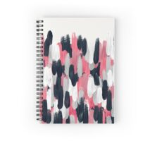Pink, Gray, and Blue Brushstrokes Abstract Spiral Notebook