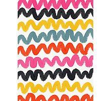 Colorful Squiggle Chevron Stripes Photographic Print