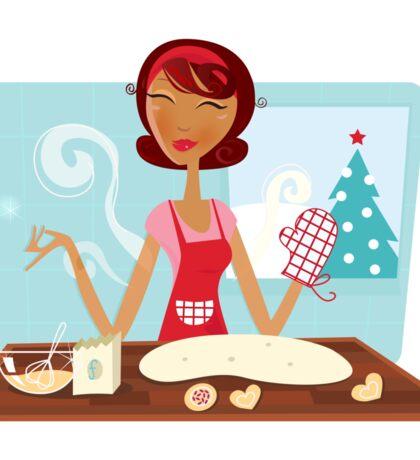Christmas woman baking cookies in retro kitchen Sticker