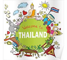 Welcome to Thailand . Set Thai elements. Poster