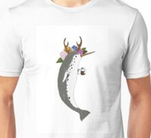Narwal, antlers, and coffee Unisex T-Shirt