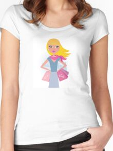 Shopping in the city: Blond shopper girl with pink bags Women's Fitted Scoop T-Shirt