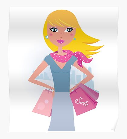 Shopping in the city: Blond shopper girl with pink bags Poster