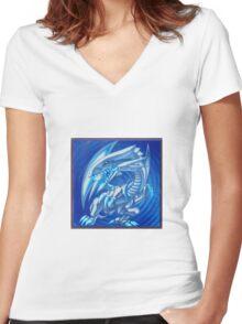Blue eyes white dragon Women's Fitted V-Neck T-Shirt