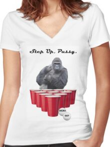 Harambe Beer Pong Step Up Women's Fitted V-Neck T-Shirt