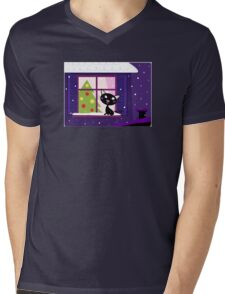 Cat looking through window, christmas tree and xmas snowy night Mens V-Neck T-Shirt