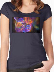 Orange Blue Swirls Women's Fitted Scoop T-Shirt