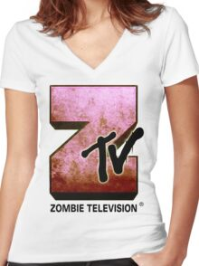Zombie TV Women's Fitted V-Neck T-Shirt