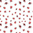 Pattern bright red ladybugs by Tanor