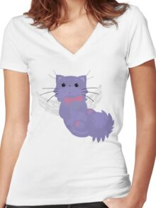 Fluffal Cat - Yu-Gi-Oh! Women's Fitted V-Neck T-Shirt