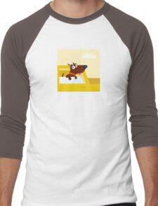 Happy brown dog travel in the car. VECTOR ILLUSTRATION. Men's Baseball ¾ T-Shirt
