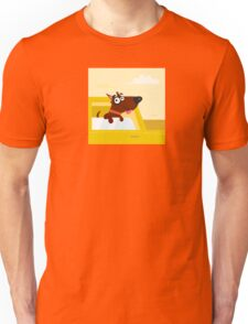 Happy brown dog travel in the car. VECTOR ILLUSTRATION. Unisex T-Shirt