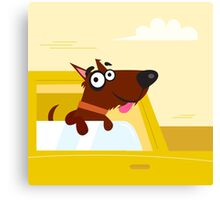 Happy brown dog travel in the car. VECTOR ILLUSTRATION. Canvas Print