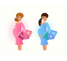 Pregnant women awaiting baby boy and baby girl Art Print