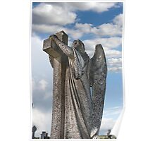 Angel statue embracing a cross  Poster