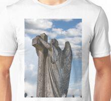 Angel statue embracing a cross  Unisex T-Shirt