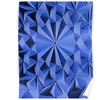 Blue fractals pattern, geometric theme Poster
