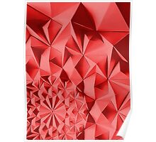 Red fractals pattern, geometric theme Poster