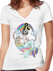 Pretty Lights Under the Sea Women's Fitted V-Neck T-Shirt